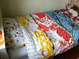 my modern take on patchwork very simple home made duvet cover with ikea fabric