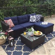 piece rattan outdoor sectional sofa set
