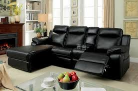 furniture of america cm6781bk 2 pc hardy black faux leather sectional sofa with chaise and recliner