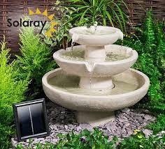 ivory solar cascade three tier fountain
