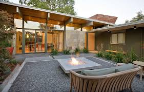 san francisco modern gas fireplace patio midcentury with backyard fire pit driveway professionals pebble