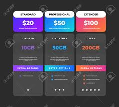 Web Banner Design Price Comparison Table Business Pricing Chart Web Banner Web Site