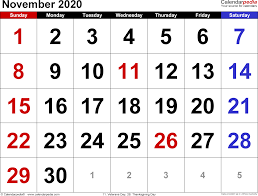 November 2020 Calendar Landscape November 2020 Calendars For Word Excel Pdf