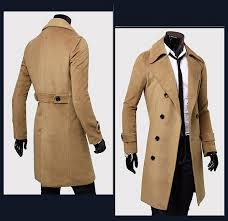 solid color turndown collar elegant double ted long sleeves woolen trench coat for men