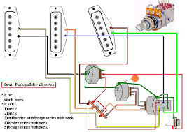 some series, parallel, and out of phase switching tricks Guitar Wiring Diagrams 3 Pickups using a standard five way strat type pup selector, with the push pull switch pulled, here's what you get guitar wiring diagrams 3 pickups 1 volume 1 tone