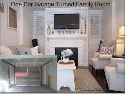today i am excited to reveal our converted garage we turned our 1 car garage into a family room this room is really still a work in progress but i can t