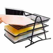 metal mesh desktop organizer memo notepads holders removable small file folder holders with 3 horizontal section