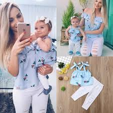 <b>Family Matching Mother Daughter</b> Women Kids Floral Striped Tops ...