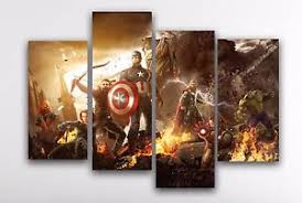 image is loading marvel avengers canvas print wall art 4 panel  on marvel spiderman canvas wall art 4 piece with marvel avengers canvas print wall art 4 panel x large captain