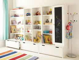 Marvelous Appealing Playroom Storage Ideas Design With Large White Wall Shelf Cabinet  And Drawer Also Free Standing Silver A Hanging Plus Colorful Striped Carpet  On ...