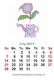 7 July Mini Calendar Template 2019 Floral Watercolor Art
