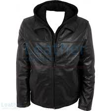 leather casual jacket with hood front view
