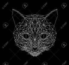 猫の細い線のスタイル幾何学的な多角形のシルエットタトゥー着色壁紙t シャツの印刷用アイコン