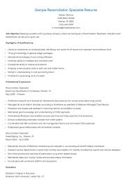 Reconciliation Specialist Sample Resume Sample Reconciliation Specialist Resume resame Pinterest 1
