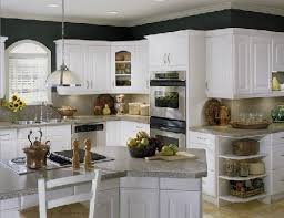 photo of bevel edged laminate countertop on white kitchen cabinets