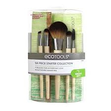 amazon ecotools 6 piece starter set includes powder blush concealer full shadow spoolie and angled liner brushes with cosmetic bag free