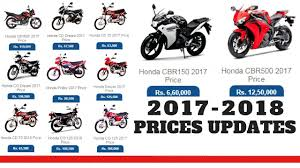 honda motorcycles price in pakistan 2017 2018 new prices updates