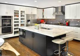 white laminate kitchen countertops. Shocking Design Ideas Using White Laminate Countertops And Rectangular Wooden Wall Cabinets Also With Rectangle Leather Barstools Kitchen I
