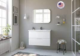 32 Seattle Bathroom Set 2 Drawers Vanity Sink Rhd White Finish