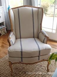 french chair upholstery ideas. antique french wingback chair d.\u0027s cottage and design: my new grain-sack upholstery ideas