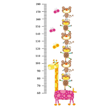 Bear Giraffe Growth Height Measure Chart Pattern Wall Sticker Diy
