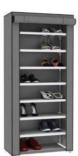 Home Basics 10 Tier Coated Non Woven Shoe Rack Free Standing Shoes Organizer 100 Tier Footwear Rack Adjustable 75
