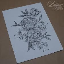 сделать татуировку пионы на бедро в городе санкт петербург по