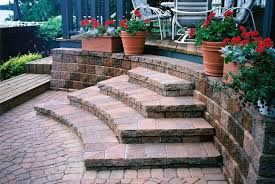 exterior: Astonishing Tiled Pattern Of Gorgeous Outside Steps Created With  Five Levels Enhanced With Charming