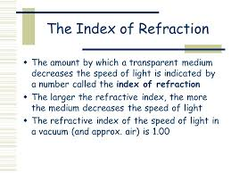 the index of refraction the amount by which a transpa um decreases the sd of