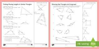 Two triangles are congruent if they have the same three sides and exactly the same three angles. Similarity And Congruence Worksheets Ks3 Maths Beyond Congruent Triangle Worksheet T4 Congruent Triangle Worksheet Worksheets Printable Household Budget Worksheet Fractions For First Graders Free 3rd Grade Math Worksheets Pdf Length Worksheets For