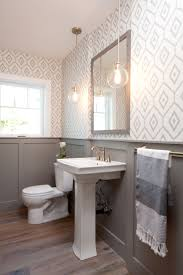 ... Bathroom, Stunning Bathroom Wallpaper Designs Creative Home Diy With  Sink And Mirror And Lamps And ...