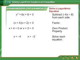 solve a logarithmic equation example 2 x 2 6x 8 0subtract 6x 8