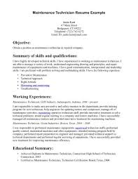 Gallery Of Maintenance Technician Resume Sample Resume Objective
