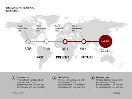 Year Timeline Powerpoint Slide Timeline Diagram 5 Years World Map P34 11