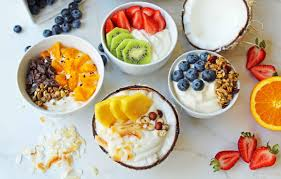 greek yogurt breakfast bowls with toppings by modern honey healthy greek yogurt topped with fresh