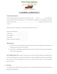 Catering Agreement Down Home Delivery Catering Agreement Templates At