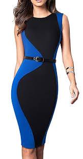 Homeyee Womens 3 4 Sleeve Colorblock Business Dress With Belt B478