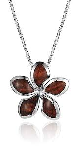 sterling silver koa wood star plumeria necklace pendant with 18