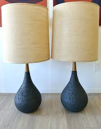 mid century lamps on hold pair of cork and wood by lamp shades mid century lamps