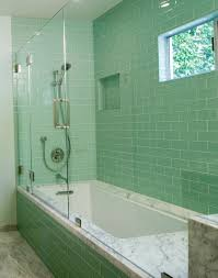 ... Inspirations: Most Popular Green Glass Subway Tiles With White  Rectangular Porcelain Tub And Freestanding Shower Tub In Guest Bathroom  Design Ideas