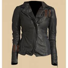 distressed vintage womens biker soft zipper leather jacket for