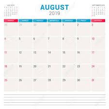 Calendar Planner For August 2019 Week Starts On Sunday Printable