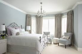 Magnificent Neutral Bedroom With Retro Decor Also High Curtains And Accent  Chairs
