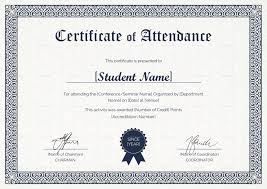Attendance Award Template Students Attendance Certificate Template