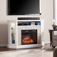 ratner faux stone corner convertible infrared electric media fireplace electric fireplaces fireplaces