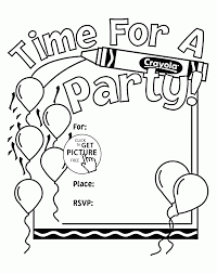 Time For A Birthday Party Coloring Page For Kids Holiday Coloring