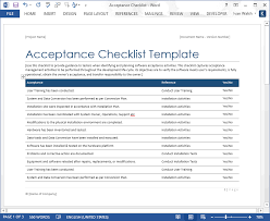 Software Testing Acceptance Checklist Template Templates