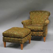 modern brocade upholstered armchair and ottoman estimate 150 200