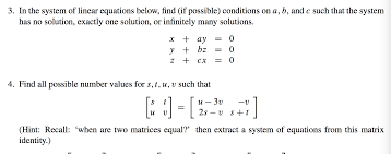 in the system of linear equations below find if