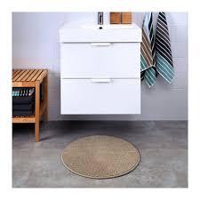 2x ikea badaren non slip microfibre bathroom round bath mat bathmat 55cm beige for